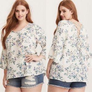 Torrid size 1 Floral Print Lace Back Top Shirt